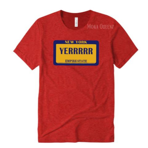 Yerrr Shirt | Red t shirt with Navy Blue and Yellow Graphics