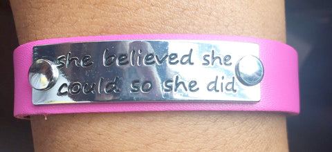 Leather Bracelets for Women | She Believed She Could, So She Did Bracelet - Pink - Moka Queenz