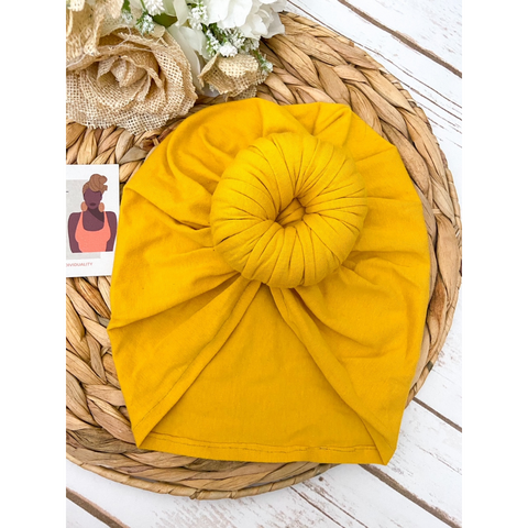 Pre Tied Head Wrap | Mustard Yellow Headwrap