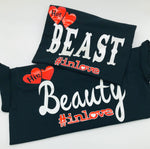 Beauty and the Beast Matching Couples T-shirts - Black T shirts -Mo-Ka Queenz