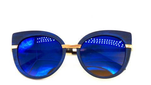 Wood Sunglasses | Hello Kitty Wooden Sunglasses - Blue - MoKa Queenz