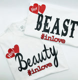 Beauty and the Beast Matching Couples T-shirts -White t shirts - Mo-Ka Queenz
