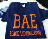 "Big Kids ""BAE"" Sweatshirt Navy Blue and Orange- Mo-Ka Queenz"