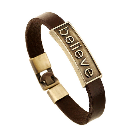 Leather Bracelets | Unisex Leather Bracelet - Believe  - MoKa Queenz