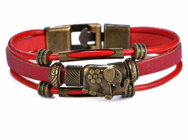 Bracelets for Women | Leather Bracelet Elephant  - Red - MoKa Queenz