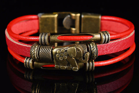 Handmade Leather Elephant Bracelet - Mo-Ka Queenz
