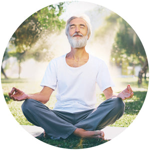 This mature man is meditating in spiritual bliss, symbolising the profound aspect of the power of audio meditations which have guided him into the deepest levels of spiritual awakening