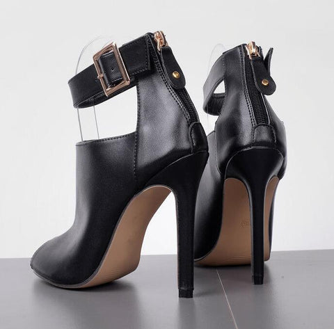 Leather Ankle Strap Women Fashion Peep Toe High Heels Shoes