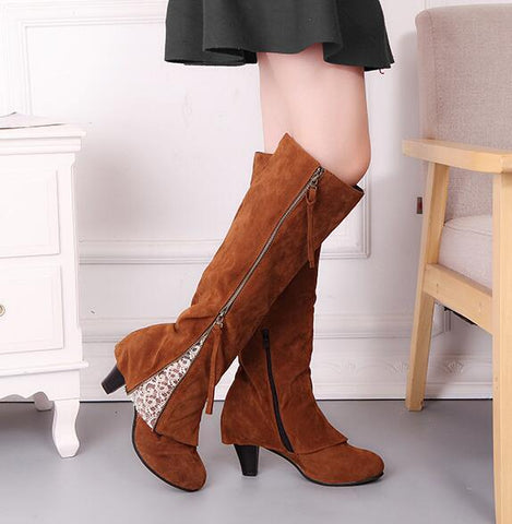Lace Tassels Zipper Fashion Women High Boots High Heels Shoes