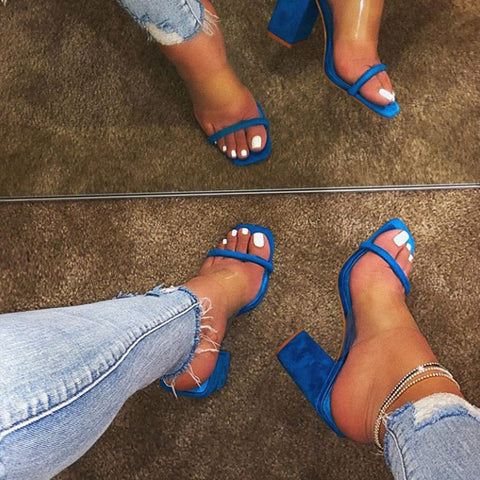 Women Sandals Pvc Jelly Crystal Heel Transparent Women Sexy Pattern High Heels Sandals Pumps Shoes