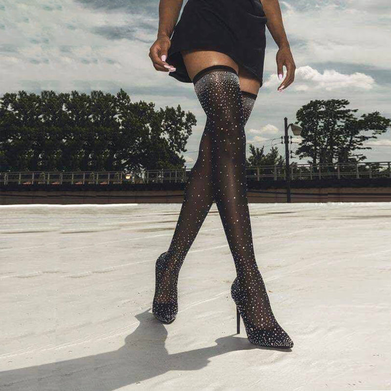 Fashion Runway Crystal Stretch Fabric Sock Boots Pointy Toe Over The Knee Heel Thigh High Pointed Toe Woman Boot