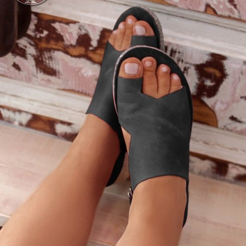 Women Sandals Flats Casual Single Shoes Woman Vintage Pu Leather Flip Thong Flat Sandalias