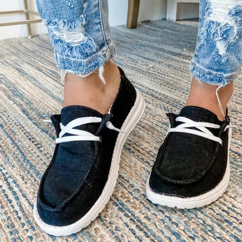 Canvas Shoes Women Lace Up Sneakers Ladies Loafers Soft Breathable Casual Shoes Female Flat Shoes