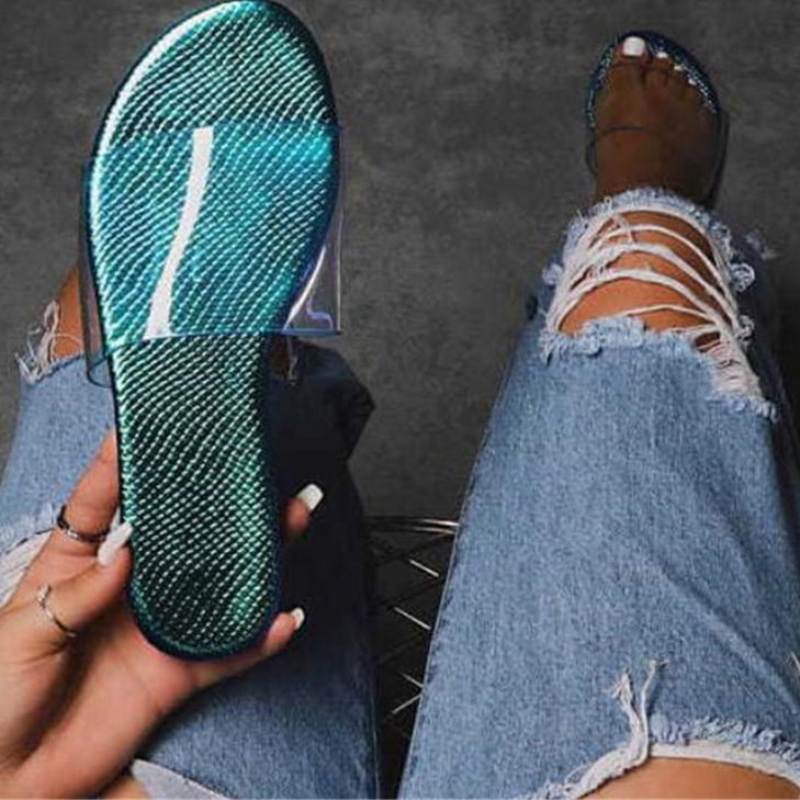 Flat Slippers Women's Transparent Pvc Glitter Peep Toe Shoes Ladies Non Slip Beach Sandals Female Slides Comfort Shoes