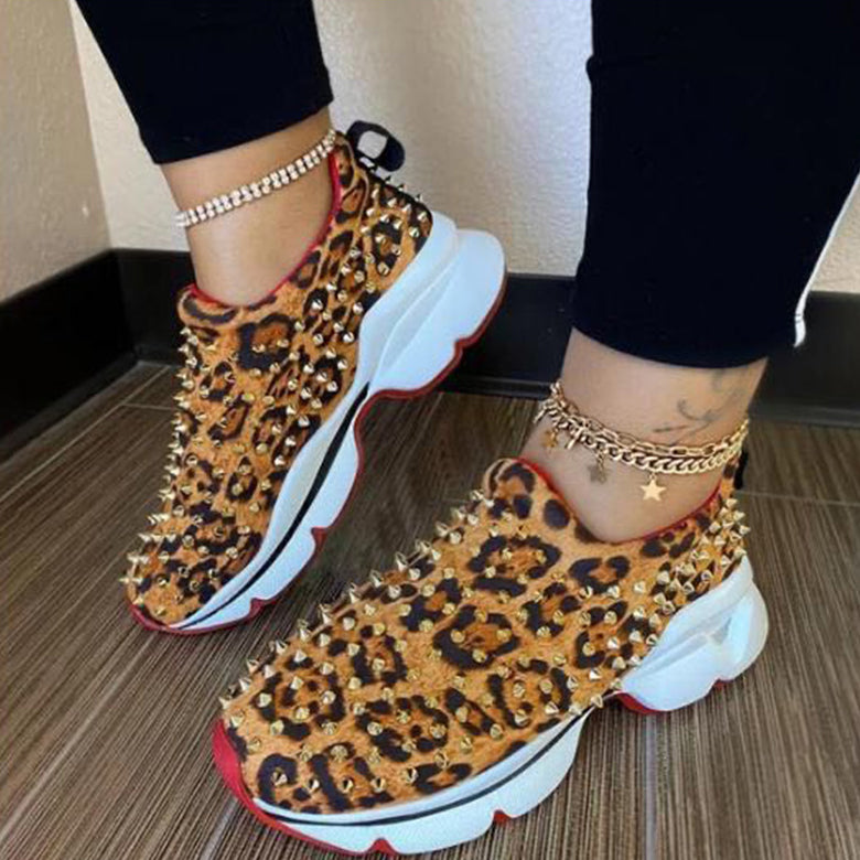Sneakers Women Vulcanized Woman Rivet Shoes Female Platform Wedges Women's Leopard Casual Ladies Slip On Footwear