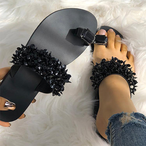 Slippers Women Shoes Sandals Beach Pineapple Flat Slippers Outside Slides Shining Crystal Ladies Shoes