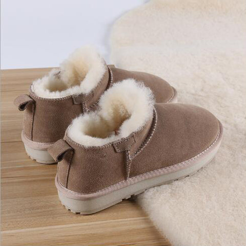 Snow Boots New Short Tube Short Boots Flat Bottom Bread Shoes Students Plus Velvet Cotton Shoes