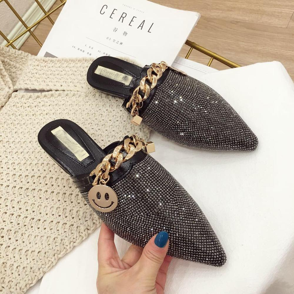 Rhinestone Women Point Toe Slippers Metal Chain Decor Crystal Flat Heels Outside Ladies Slides Luxury Party