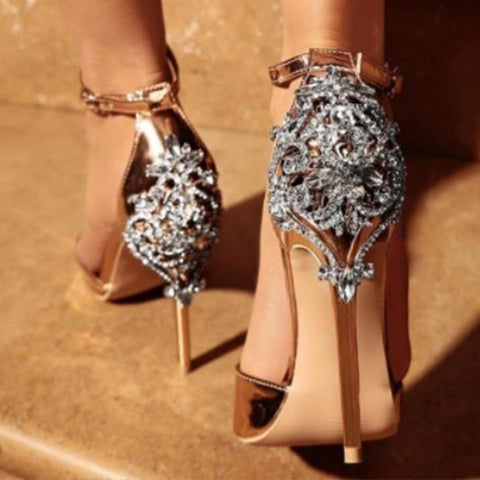 Rhinestone Fashion Women Banquet Sandals High Heels Shoes