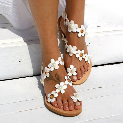 Women Sandals Style Shoes For Women Flat Sandals Beach Shoes Flowers Flip Flops