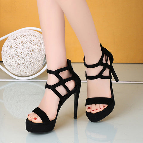 Hollow Out Sandals Women Platform High Heels Shoes Woman Sexy Peep Toe Pumps Women Shoes Office Party Heels