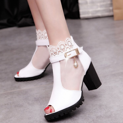 Sexy Women Sandals Mesh Lace Square High Heel Shoes Woman Pumps Sexy Flower Net Hollow Peep Toe Gladiator Sandals