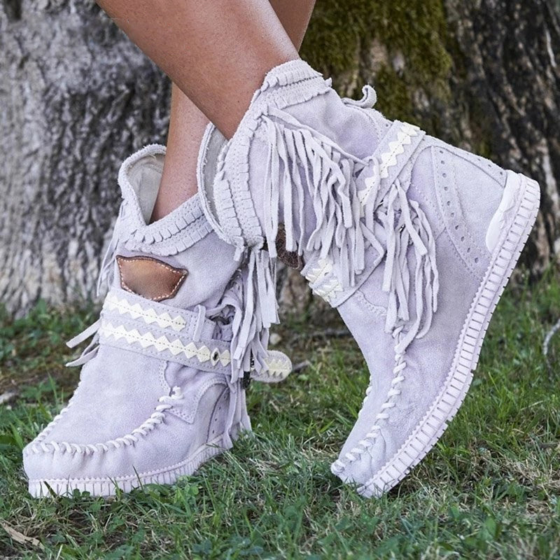 New Women Ankle Short Boots Tassels Round Toe Buckle Strap Warm Non-slip Boots Shoe For Lady Warm