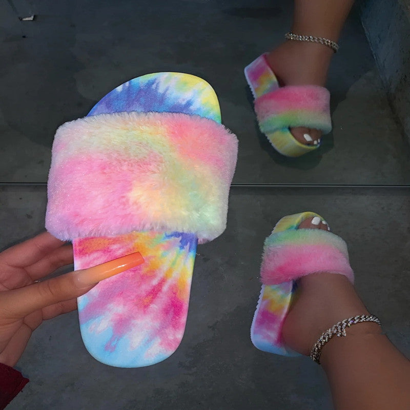 Fashion Fur Slides For Women Furry Sandals For Woman Female Indoor Shoes Fluffy Plush With Fur Slippers Flip Flops