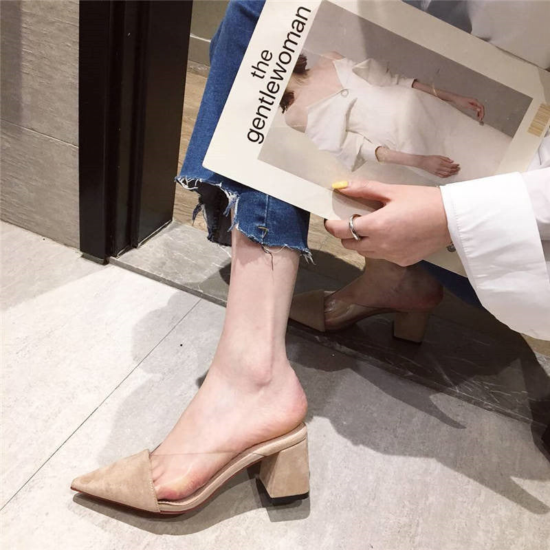 Pointed Toe Suede Square Heel High Heels Muller Slippers Women Shoes Women Fashion Patchwork Shallow Ladies Shoes