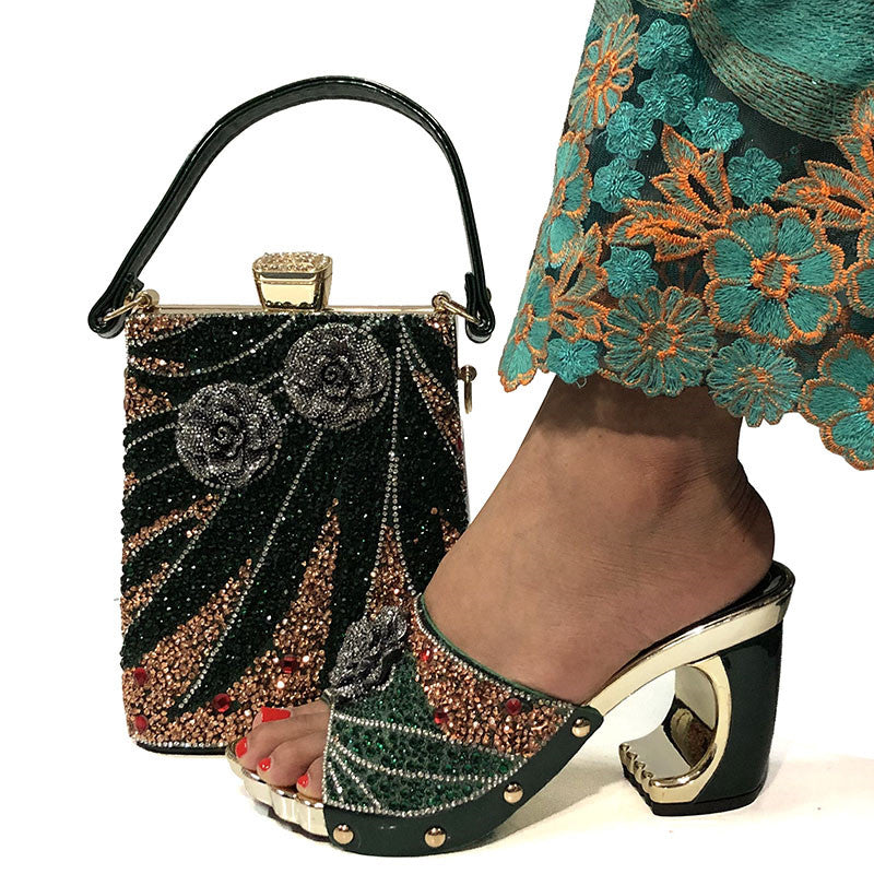 New Arrival Fashionable Shoes And Bag Sets Silver Color Women's Shoes With Appliques For Women Sandals
