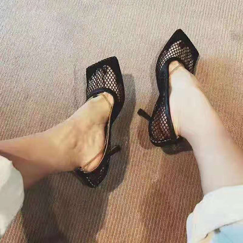 Sexy Mesh Pumps Sandals Female Square Toe High Heel Chain Stiletto Hollow Party Dress Pumps Shoes