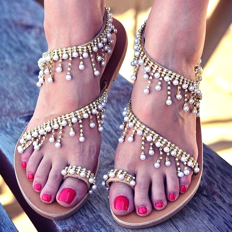 Women Sandals Shoes Flat Pearl Sandals Comfortable String Bead Slippers Women Casual Sandals