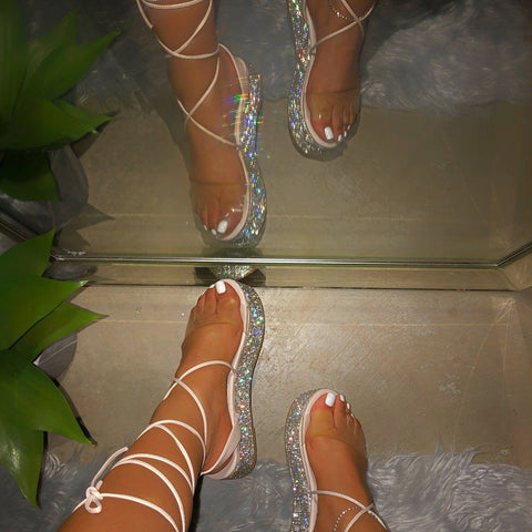 Platform Sandals For Women Ankle Strap Rhinestone Sexy Open Toe Ladies Beach Shoes Female Sandalias