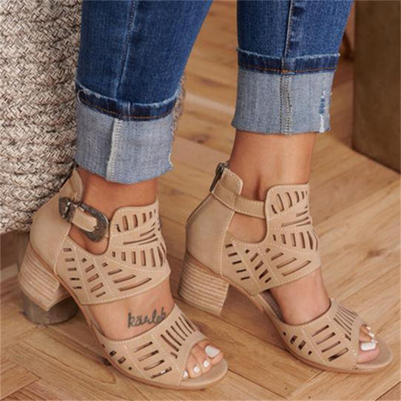 Vintage Hollow Out Sandals Mid Heel Slip-on Buckle Ladies Shoes Artificial Open Toe Casual Wedding Pumps Women Sandalias