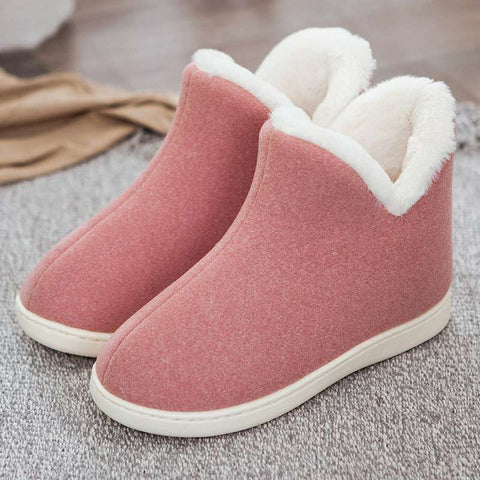 Plush Home Slippers Indoor High Top Shoes Flat Slipper Shoes House Slippers