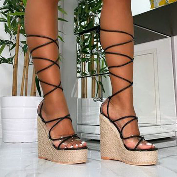 New Women Sandals Lace Up Peep Toe Wedges High Heels Large Elegant Sandals