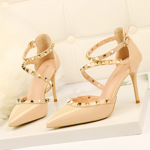 Sexy Pointed Toe Rivet High Heels Women Pumps Thin Heels Ladies Shoes Fashion Platform Dress Shoes New