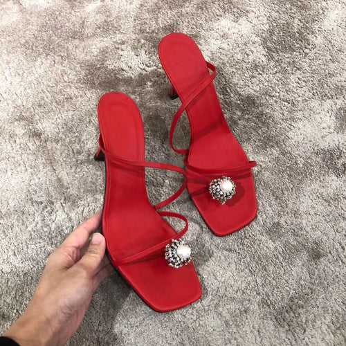 Fashion Party Women's Shoes Women's Slippers New Red Sandals Fixed Toe Fine Heel Slippers High Heel Sandals