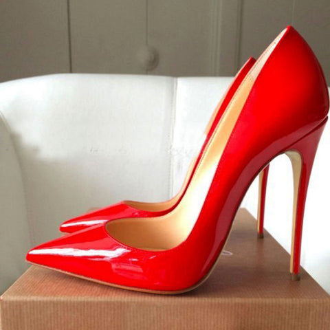 Women Pumps Lacquer Patent Leather High Heels Shoes For Wedding Party Sexy Stiletto Heels Pointed Toe