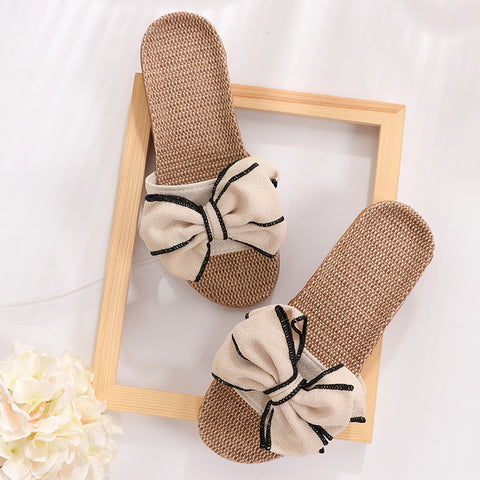 New Butterfly Knot Home Slippers Cool Slippers Women Linen Belt Slides Female Sandals Flip Flops
