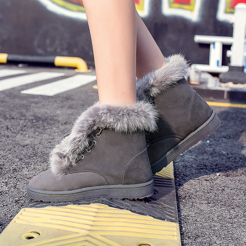 Woman Boots Warm Fur Snow Boots Women Outdoor Cotton Shoes Female High Top Ankle Boots Wear Resistant Slip