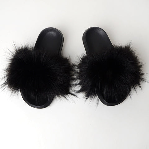 New Fluffy Faux Fur Slides Women Fur Slippers Furry Sandals Fake Fox Fur Flip Flops Home Fuzzy Woman Casual Plush Shoes