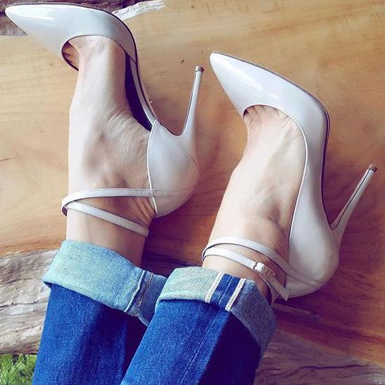 Fashion Buckle Women Pointed Toe High Heels Shoes