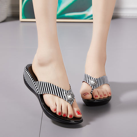 Platform Flip Flops Fashion Beach Shoes Woman Anti Slip Genuine Leather Sandals Women Slippers Shoe