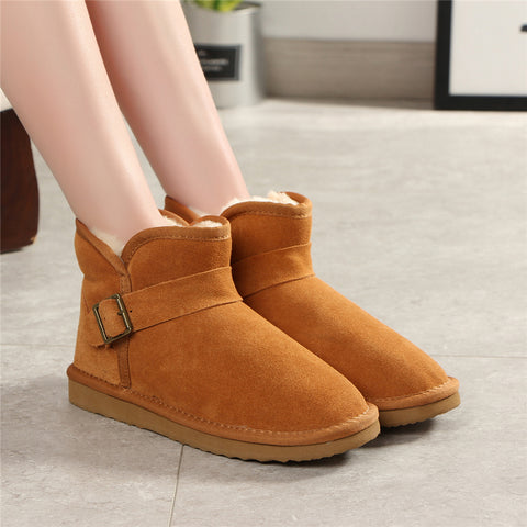 Top Quality Fashion Genuine Cowhide Leather Snow Boots Classic Shoes For Ankle Boots