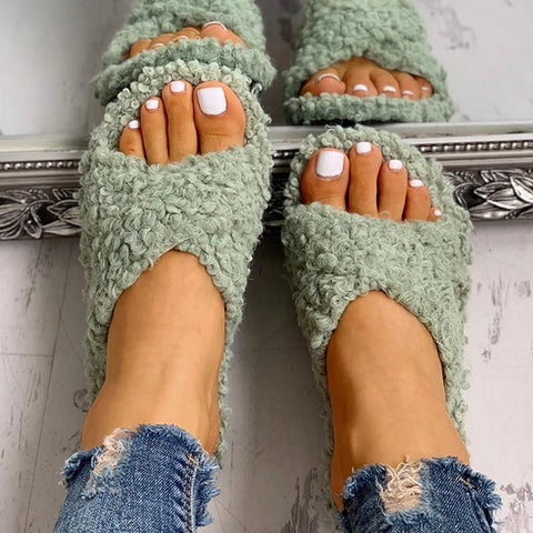 Women Slipper Solid Fluffy Crisscross Design Platform Fur Sole Mules Ladies Slides Party Sandals