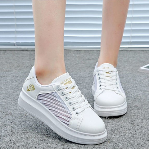 Lace-up White Shoes PU Leather Solid Color Shoes Casual Shoes Sneakers