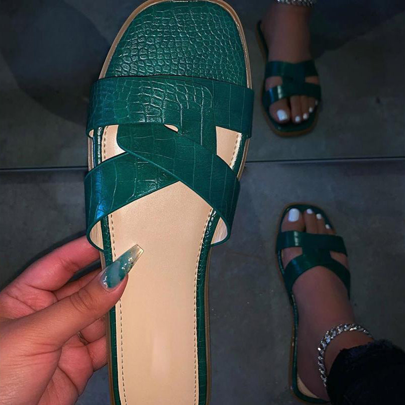 Women Flat Sandals Open Toe Sandals Fashion Pu Leather Shallow Solid Slippers Beach Shoes