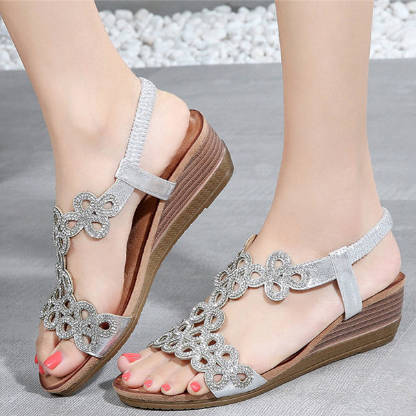 Platform Sandals Women Hollow Out Peep Toe Wedges Sandals High Heeled Shoes