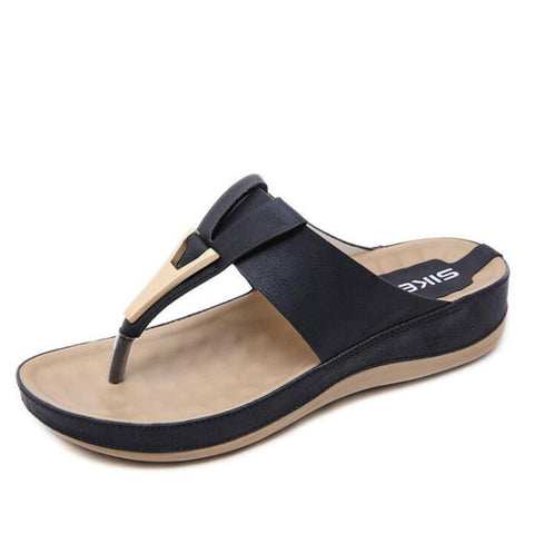 Women Slippers Buckle Real Leather Slides Shoes Solid Thick Sole Heels Beach Sandals Women Outside Platform Flip Flops